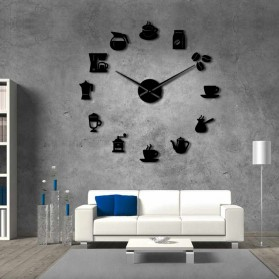 Jam Dinding Besar DIY Giant Wall Clock Quartz Creative Design 120cm Model Coffee Time - DIY-221 - Black