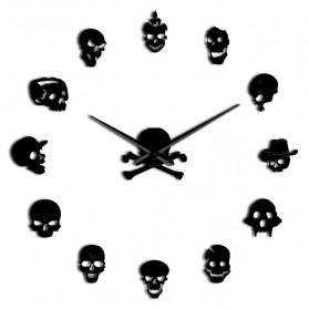 Jam Dinding Besar DIY Giant Wall Clock Quartz Creative Design 120cm Model Various Skull - DIY-222 - Black - 2