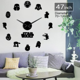 Jam Dinding Besar DIY Giant Wall Clock Quartz Creative Design 120cm Model Star Wars - DIY-223 - Black