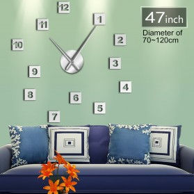 Jam Dinding Besar DIY Giant Wall Clock Quartz Creative Design 120cm Model Square Number - DIY-224 - Silver