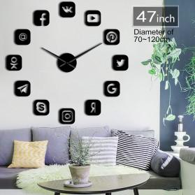 Jam Dinding Besar DIY Giant Wall Clock Quartz Creative Design 120cm Model Social Media - DIY-225 - Black