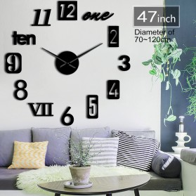 Jam Dinding Besar DIY Giant Wall Clock Quartz Creative Design 120cm Model Mixed Number - DIY-226 - Black