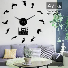 Jam Dinding Besar DIY Giant Wall Clock Quartz Creative Design 120cm Model Dolphins - DIY-227 - Black