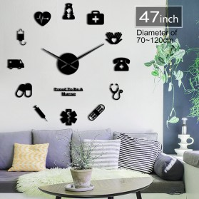 Jam Dinding Besar DIY Giant Wall Clock Quartz Creative Design 120cm Model Nurse Doctor Kit - DIY-229 - Black