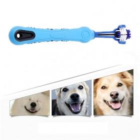 EH-LIFE Sikat Gigi Hewan Anjing Kucing 3 Sisi Three Sided Pet Toothbrush - IC976646 - Blue