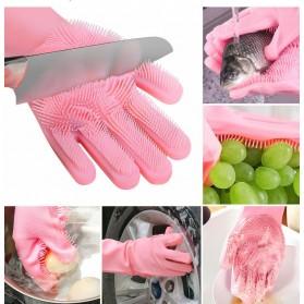 Funbaky Sarung Tangan Sikat Mencuci Magic Silicone Gloves - E034 - Pink