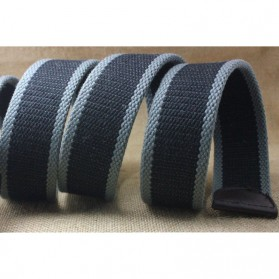 NOS Tali Ikat Pinggang Pria Canvas Style Men Belt - LKCZK0241 - Black with White Side - 4