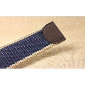 NOS Tali Ikat Pinggang Pria Canvas Style Men Belt - LKCZK0241 - Black with White Side - 6