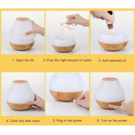 FUNHO Aromatherapy Air Humidifier Wood 400ml with LED RGB - AJ-504 - Wooden - 5