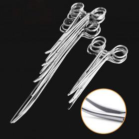 Kitbakechen Gunting Operasi Dokter Medis Hemostat Pliers Clamp Elbow 12.5cm - GJ01168 - Silver - 4