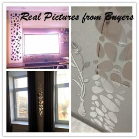 SOLEDI Sticker Dekorasi Dinding Mural Mirror Acrylic 12 PCS - SL09 - Silver - 6