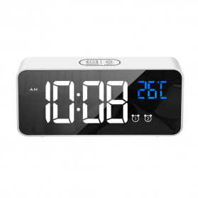 HOUSEEN Jam Weker Alarm Digital + Temperature Voice Control - TX610 - Black - 3
