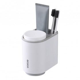 ECOCO Rak Sikat Gigi & Gelas Magnetic Wall Mounted Toothbrush Holder - E1905 - Gray