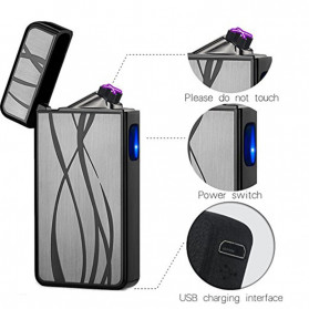 LCFUN Korek Api Elektrik Double Pulse Plasma Arc Lighter USB Rechargeable - F130016 - Black