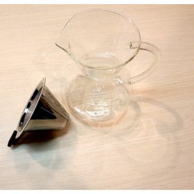 One Two Cups Coffee Maker Pot V60 Teko Kopi Barista Borosilicate Glass 600ml with Filter - YD-KT001 - Transparent - 2