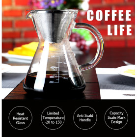 One Two Cups Coffee Maker Pot V60 Teko Kopi Barista Borosilicate Glass 600ml with Filter - YD-KT001 - Transparent - 6