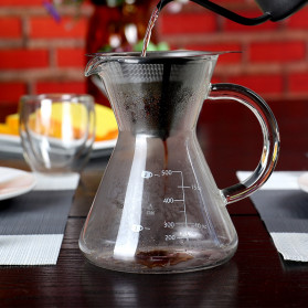One Two Cups Coffee Maker Pot V60 Teko Kopi Barista Borosilicate Glass 600ml with Filter - YD-KT001 - Transparent - 11
