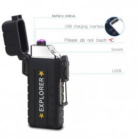 Jobon Explorer Korek Api Elektrik Plasma Arc Lighter Outdoor Waterproof - F1270 - Black - 2