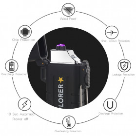 Jobon Explorer Korek Api Elektrik Plasma Arc Lighter Outdoor Waterproof - F1270 - Black - 6
