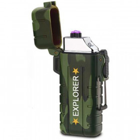 Jobon Explorer Korek Api Elektrik Plasma Arc Lighter Outdoor Waterproof - F1270 - Green