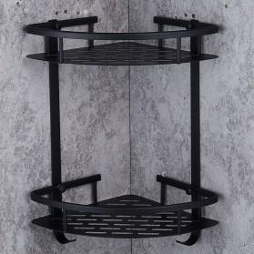 LemonBest Rak Aluminum Triangular Organizer Rack Bathroom 2 Layers - G48 - Black - 5