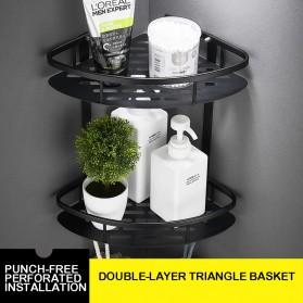 LemonBest Rak Aluminum Triangular Organizer Rack Bathroom 2 Layers - G48 - Black - 7