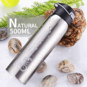 BTD Botol Minum Sepeda Thermos Bicycle Kettle Drink Bottle Stainless Steel 500ml - A1A096 - Silver