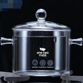 One Two Cups Pot Panci Masak Stewing Soup Pot Borosilicate Glass 15CM - YWJ-1265 - 2