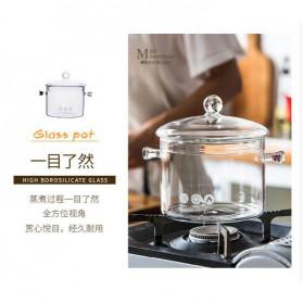 One Two Cups Pot Panci Masak Stewing Soup Pot Borosilicate Glass 15CM - YWJ-1265 - 8