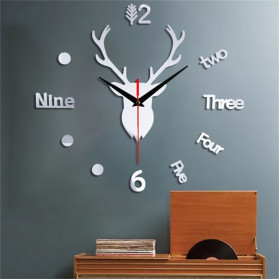 Jam Dinding 3D DIY Giant Wall Clock Quartz Creative Design Model Deer Head 100cm - Q8073 - Silver
