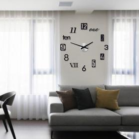 Jam Dinding 3D DIY Giant Wall Clock Quartz Creative Design 80-100cm - MRCW26-5 - Silver - 3