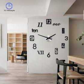 Jam Dinding 3D DIY Giant Wall Clock Quartz Creative Design 80-100cm - MRCW26-5 - Black - 2