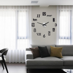 Jam Dinding 3D DIY Giant Wall Clock Quartz Creative Design 80-100cm - MRCW26-5 - Black - 3