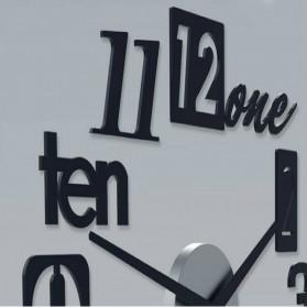 Jam Dinding 3D DIY Giant Wall Clock Quartz Creative Design 80-100cm - MRCW26-5 - Black - 4