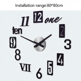Jam Dinding 3D DIY Giant Wall Clock Quartz Creative Design 80-100cm - MRCW26-5 - Black - 7