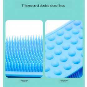 BWOHOPS Alat Bantu Mandi Sikat Gosok Punggung Silicone Scrub Back Bath Brush - BW60 - Blue - 10