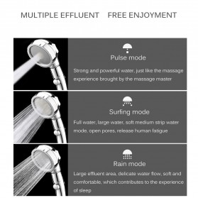 BAKALA Kepala Shower Mandi Rotating 360 Degrees With  3 Mode Water Pressure - BR-2223 - Silver - 4