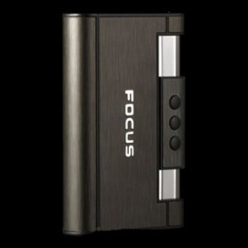 Firetric Focus Kotak Rokok Cigarette Box 8 Slot dengan Korek Gas - YH007 - Black - 6