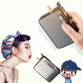 Focus JIJU Kotak Rokok Cigarette Box 10 Slot dengan Korek Gas - YH060 - Silver - 2