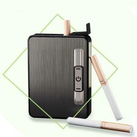 Focus JIJU Kotak Rokok Cigarette Box 10 Slot dengan Korek Gas - YH060 - Silver - 3