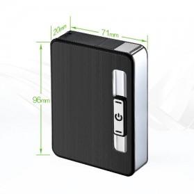 Focus JIJU Kotak Rokok Cigarette Box 10 Slot dengan Korek Gas - YH060 - Silver - 7