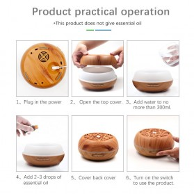 Kongyide Air Humidifier Aromatherapy Diffuser Wood Design 300ml - AJ-511 - Wooden - 8