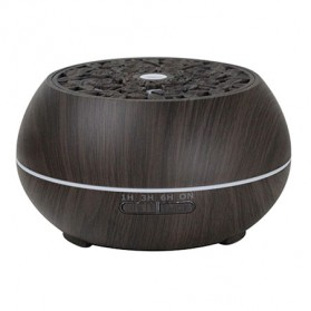 Kongyide Air Humidifier Aromatherapy Diffuser Wood Design 550ml with Bluetooth Speaker + Remote Control - J-109 - Dark Brown