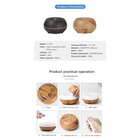 Kongyide Air Humidifier Aromatherapy Diffuser Wood Design 550ml with Bluetooth Speaker + Remote Control - J-109 - Wooden - 10