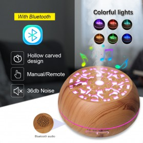 Kongyide Air Humidifier Aromatherapy Diffuser Wood Design 550ml with Bluetooth Speaker + Remote Control - J-109 - Wooden - 2
