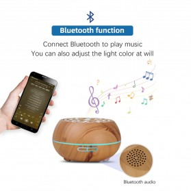 Kongyide Air Humidifier Aromatherapy Diffuser Wood Design 550ml with Bluetooth Speaker + Remote Control - J-109 - Wooden - 3