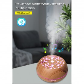 Kongyide Air Humidifier Aromatherapy Diffuser Wood Design 550ml with Bluetooth Speaker + Remote Control - J-109 - Wooden - 6
