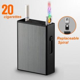 Vamav Kotak Rokok 20 Slot dengan Korek Elektrik USB Rechargeable - J708 - Black
