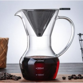 LOULONG Coffee Maker Pot V60 Teko Kopi Barista 300ml + Filter - KT300 - Transparent