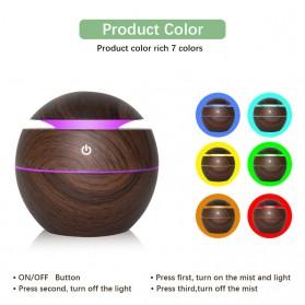 JUTAOHUI Air Humidifier Aromatherapy Oil Diffuser Wood Design 130ml - JTH-001 - Dark Brown - 2